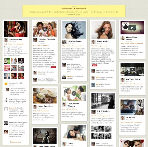 Pinboard Review Themify - Responsive Pinterest WordPress Theme