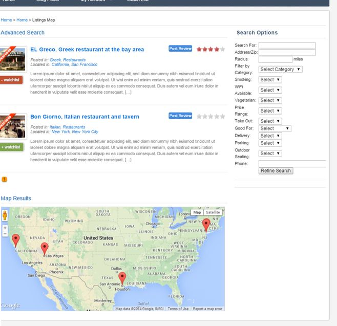 Buzzler Advanced Search and Google Maps Listing SiteMile