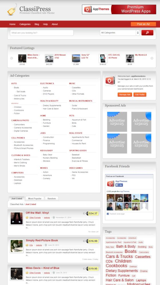 ClassiPress Demo Review - AppThemes Responsive Classified Ads theme script plugin