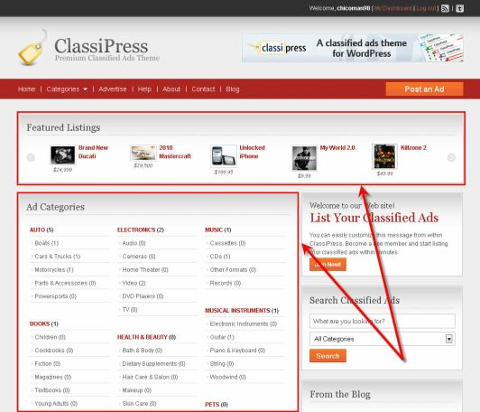 ClassiPress Review Home Carousel Widgets