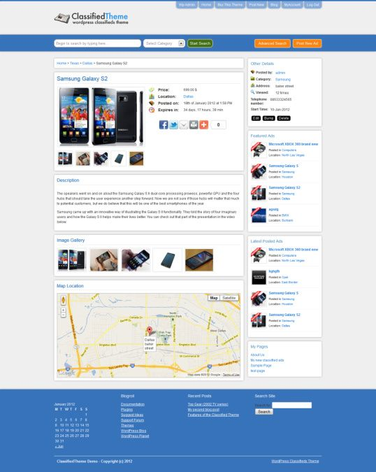 Listing post Classified Ads Theme