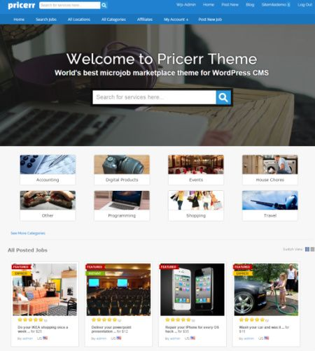 Pricerr Review Demo - Sitemile MicroJobs WordPress Theme