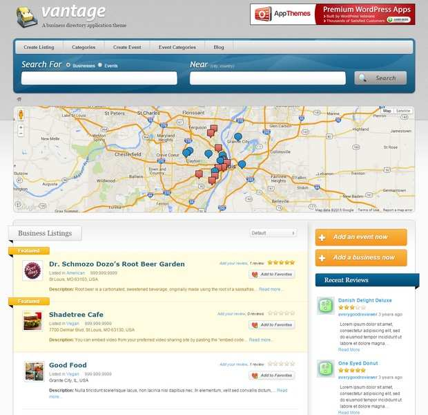 Vantage Review Demo AppThemes – business directory application theme