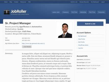 Resume Page  for Job Seeker - AppThemes
