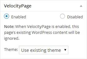 Velocity Page Builder Plugin - Enable Options