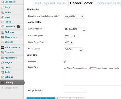Header Footer options Foxhound Band theme