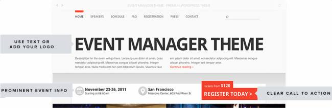 Clean design - Event Manager Showthemes
