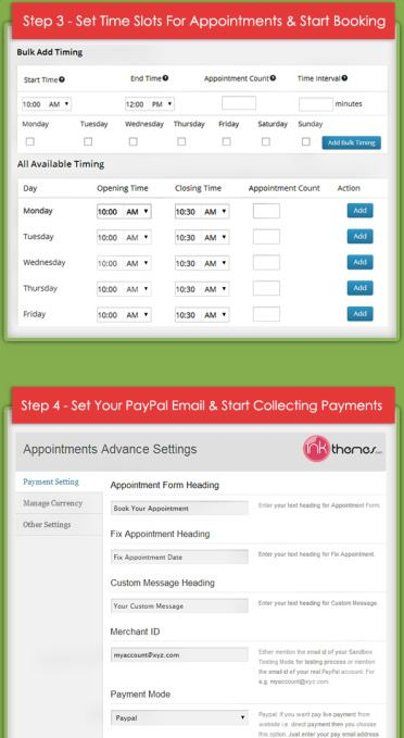 Appointment Booking Options- InkThemes