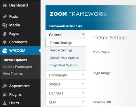 WPZOOM Framework - Theme Options Panel