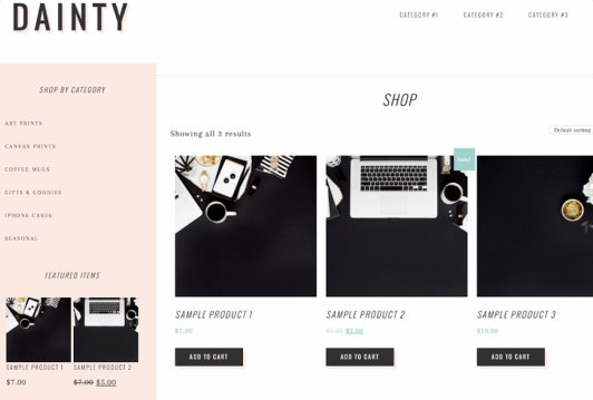Shop Page - Dainty