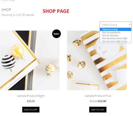 Samantha Shop Page - WooCommerce
