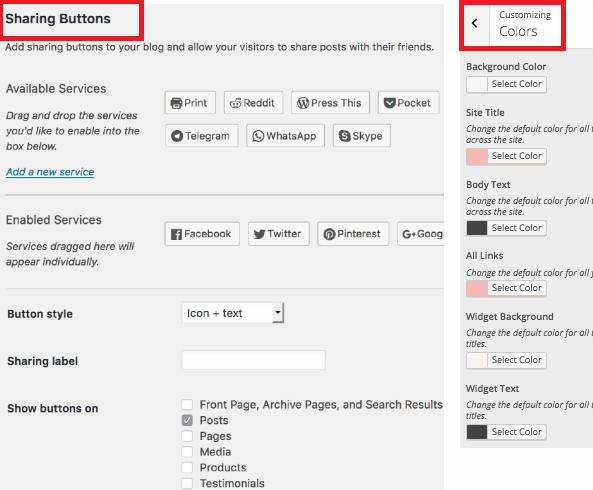 Social sharing buttons and Color customizer - Blossom