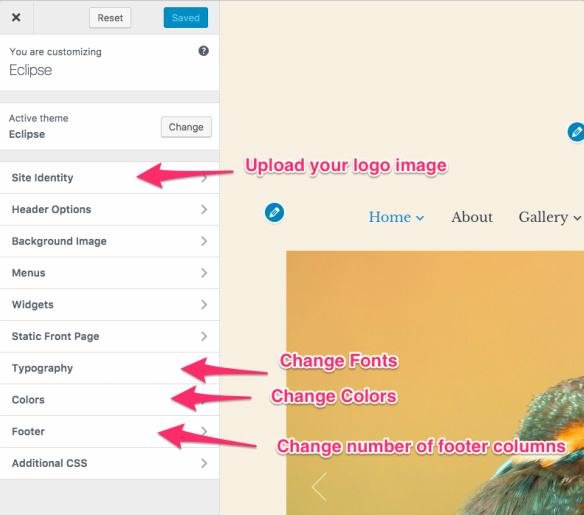 WordPress Customizer Options - Eclipse Gallery Theme