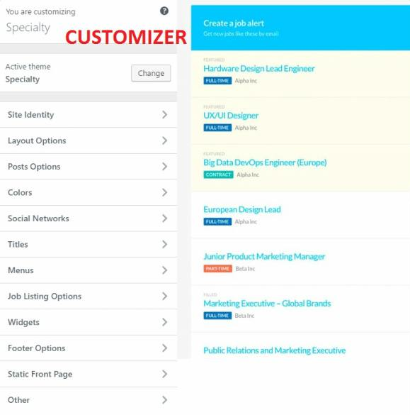 Customizer Options - Specialty