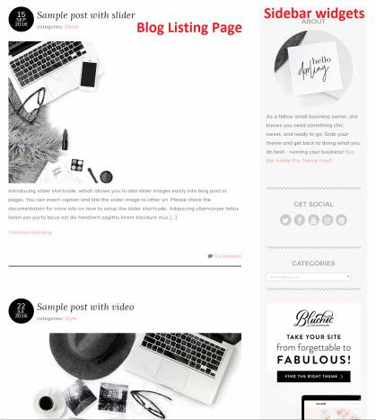 Blog Page with Sidebar - Adelle Pro Bluchic