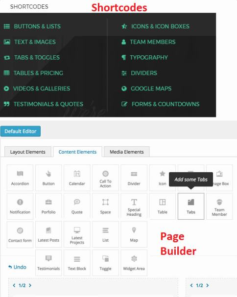 Shortcodes Page Builder - Creative Core Theme