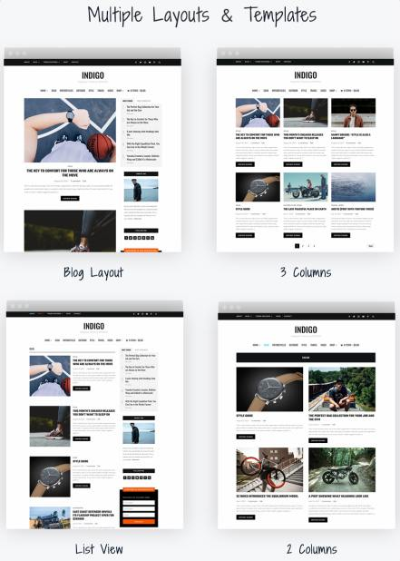 Blog Template Layouts - Indigo WPZOOM