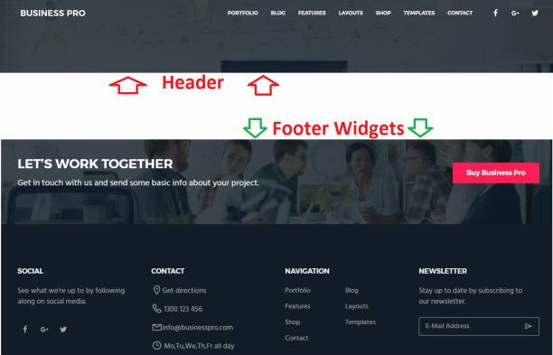Header and Footer Preview - Business Pro
