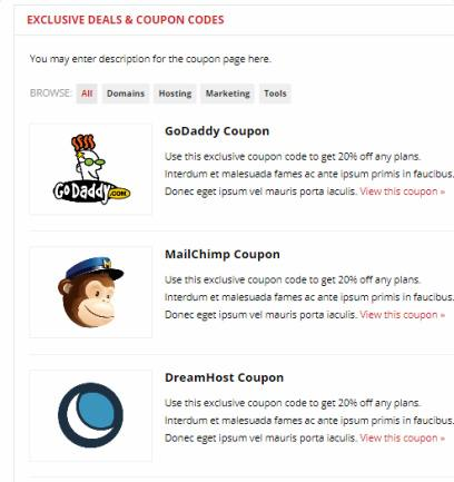 Deals Coupon Codes Listing Page - Improve Theme