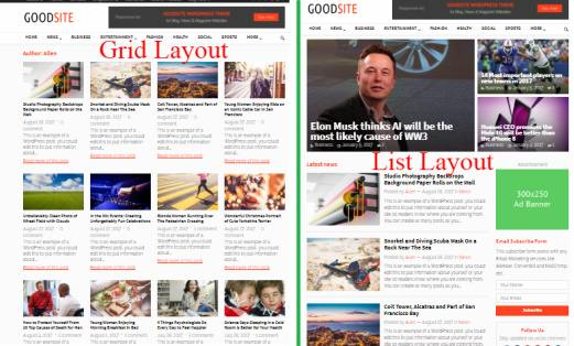 Grid List Layouts - GoodSite Magazine Theme