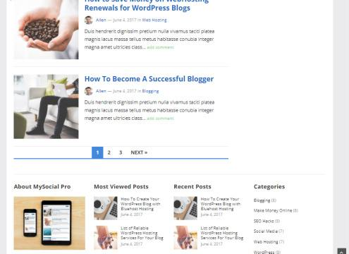 Homepage and Footer Widgets - MySocial