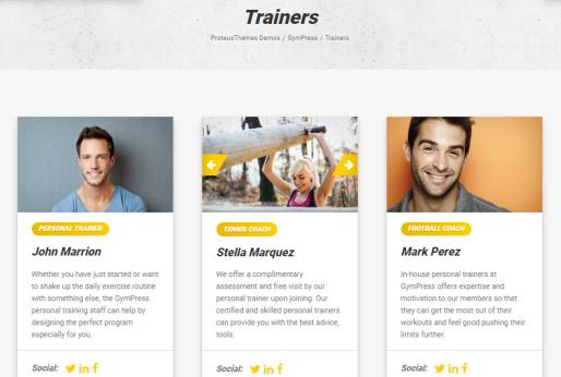 Trainers Page - GymPress