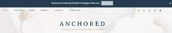 Anchored - Header Announcement Bar and Navigation Menu
