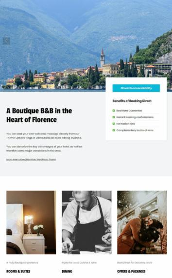 Boutique Homepage Slider and Contents
